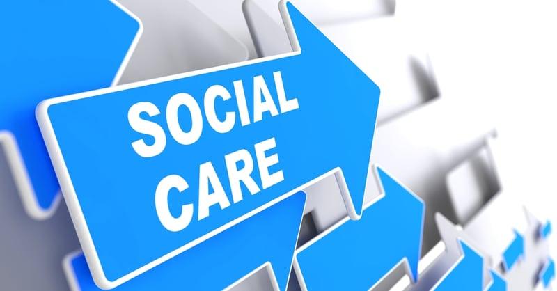 Social Care - Social Concept. Blue Arrow with Social Care slogan on a grey background. 3D Render.